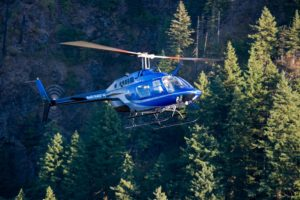 helicopter flying across evergreen trees