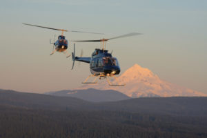 two helicopters flying past mt. hood