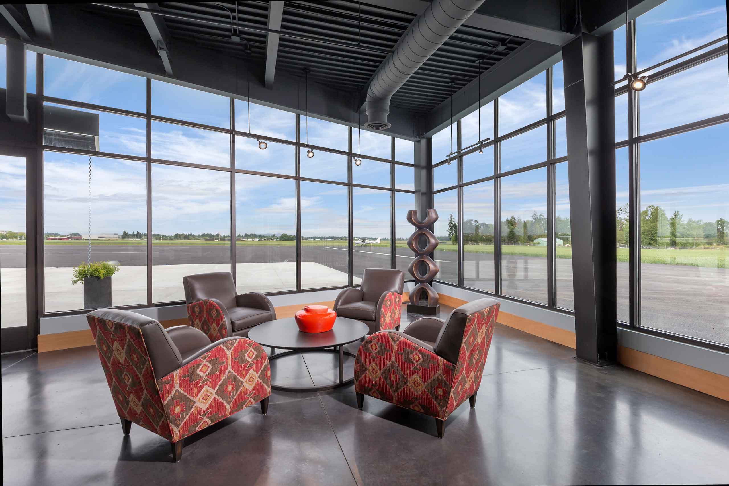 seating area with windows hillsboro aviation fbo