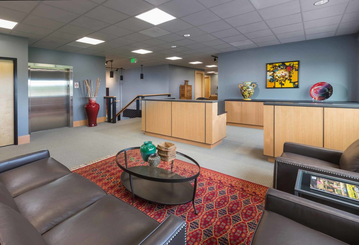 hillsboro aviation facility lobby with front desk and seating area